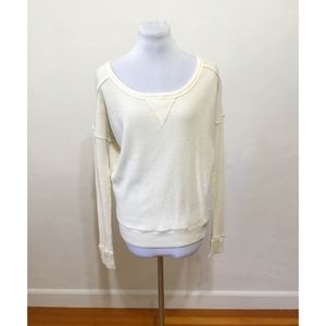 Free People Cream Waffle Thermal Top - Size XS